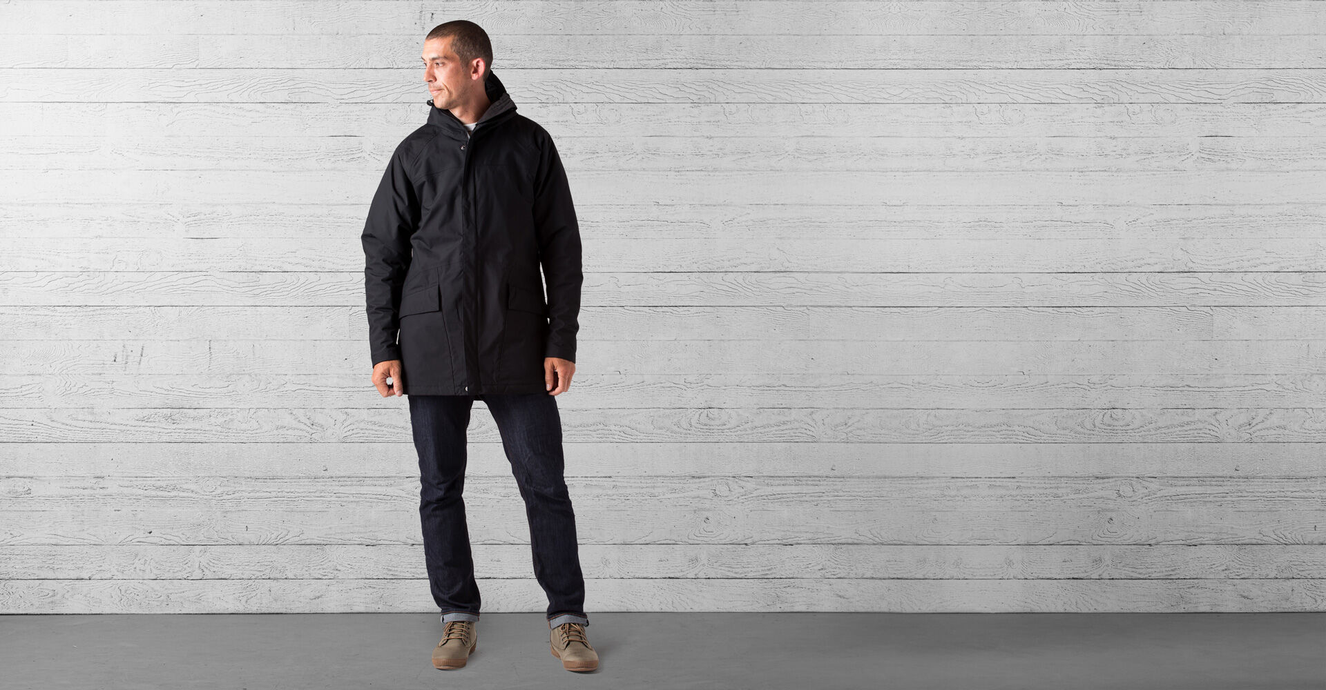 Storm Insulated Parka in Black - wide view.