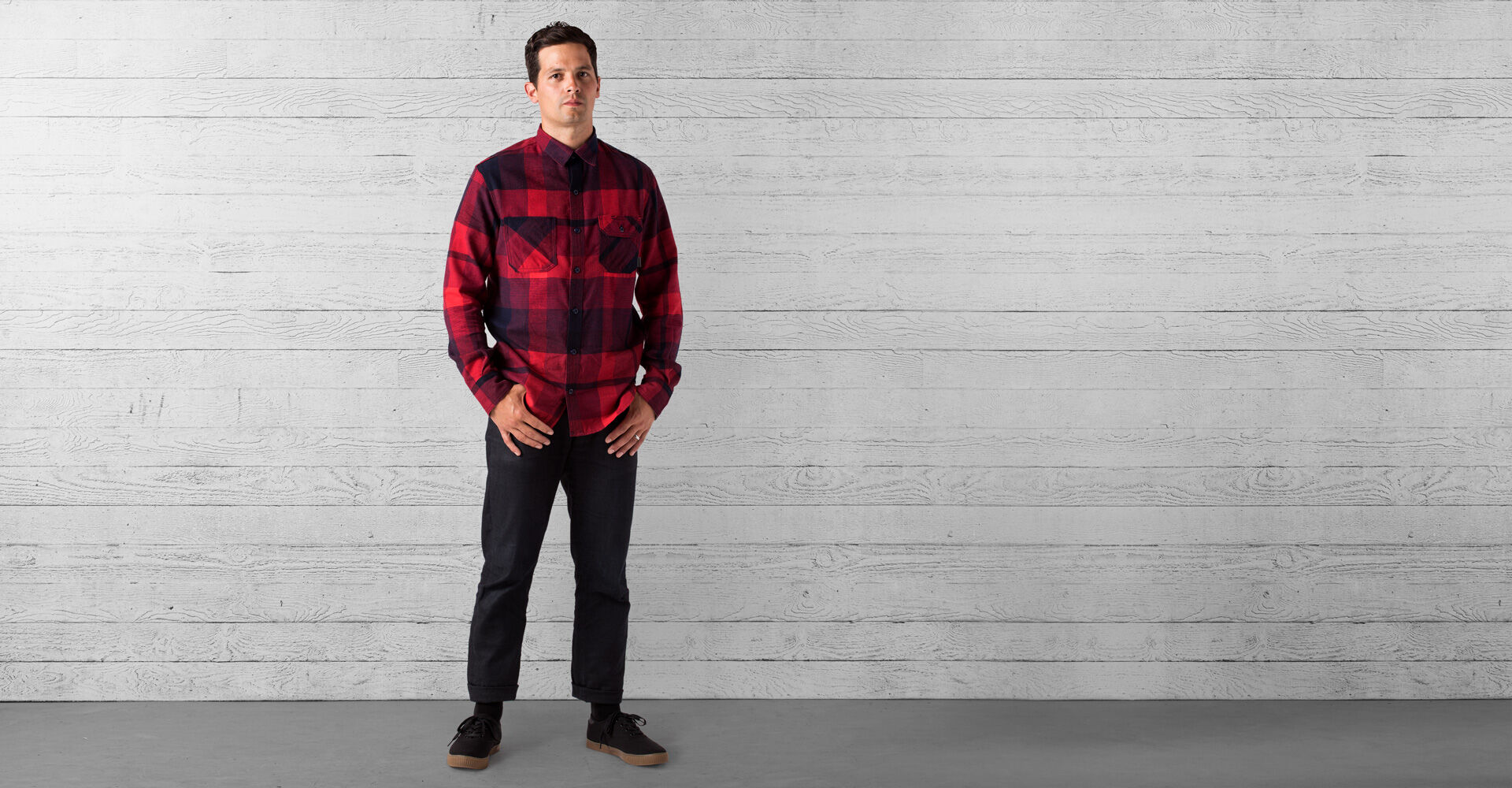 Woven Workshirt in Red / Navy Plaid - wide view.