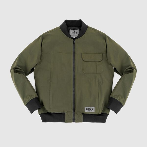 Utility Bomber Jacket in Olive - medium view.