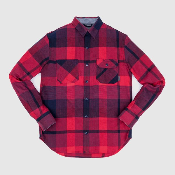 Woven Workshirt in Red / Navy Plaid - medium view.