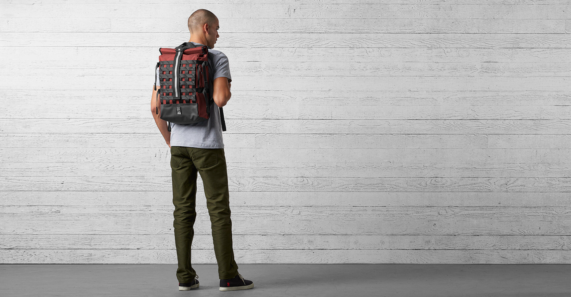 Barrage Cargo Backpack in Brick - wide view.