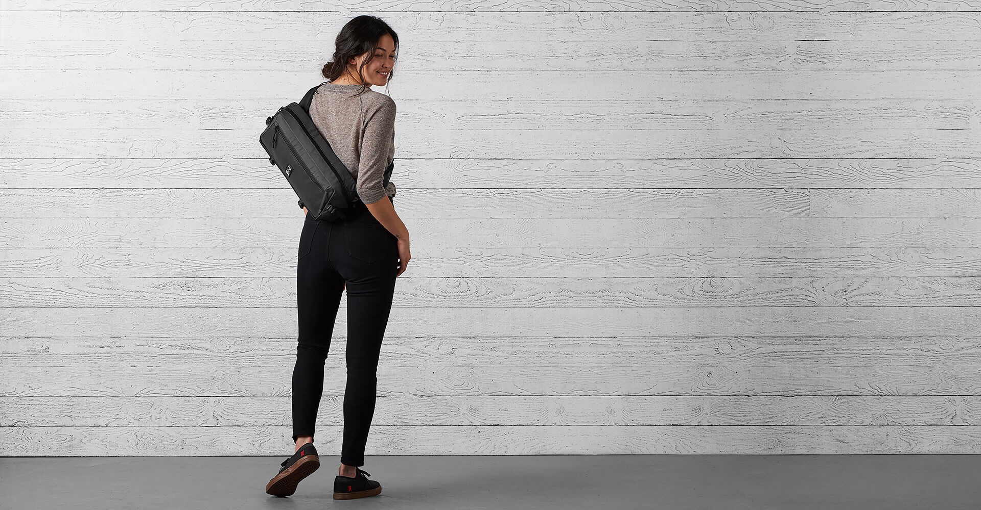 The Welterweight Kadet Messenger Bag in Charcoal / Black - wide view.