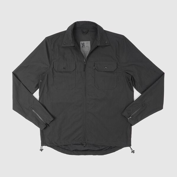 Poplin Ike Windshirt in Black - medium view.