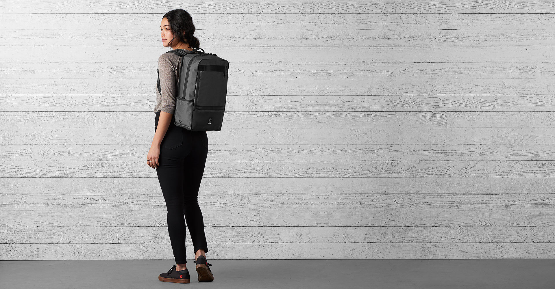 The Welterweight Hondo Backpack in Charcoal / Black - wide view.