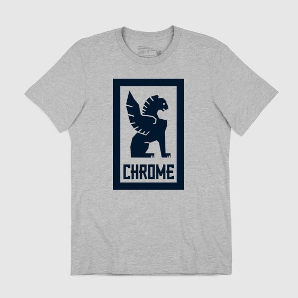 Large Lock Up Tee in Heather Grey / Navy Graphic - medium view.