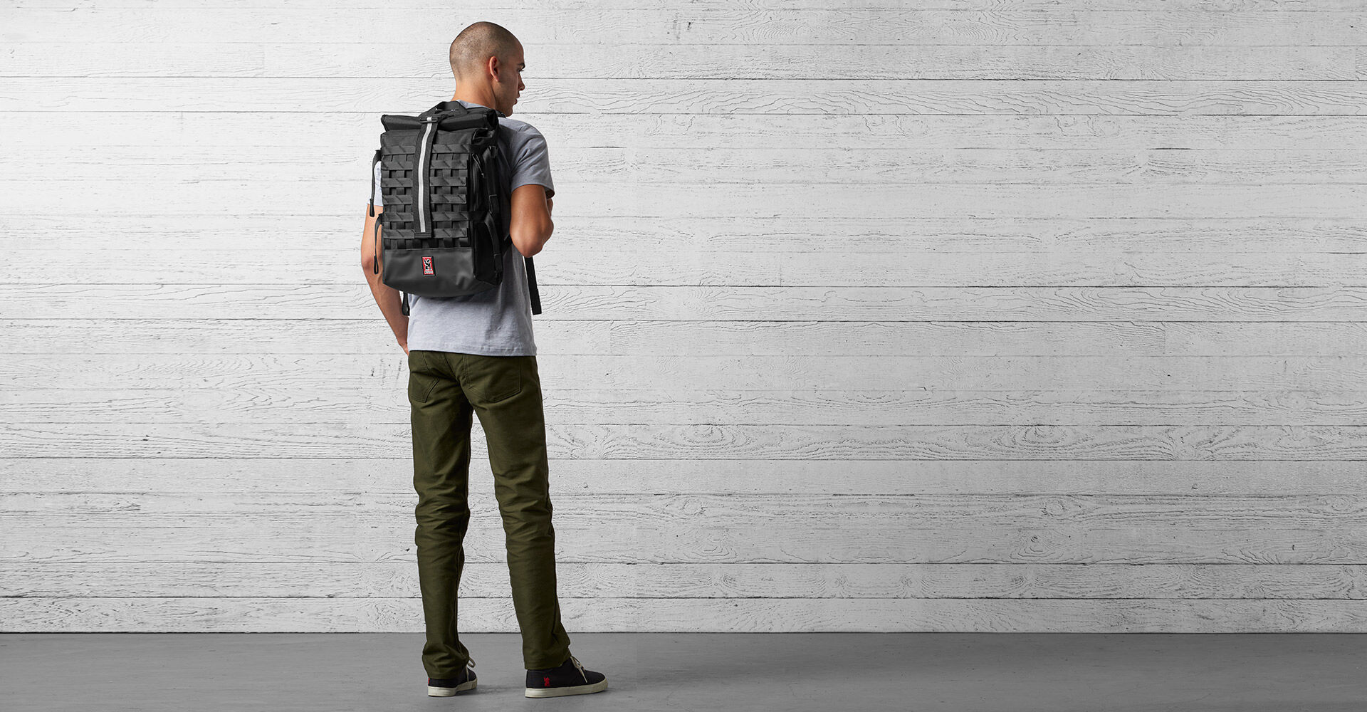 Barrage Cargo Backpack in Black - wide view.