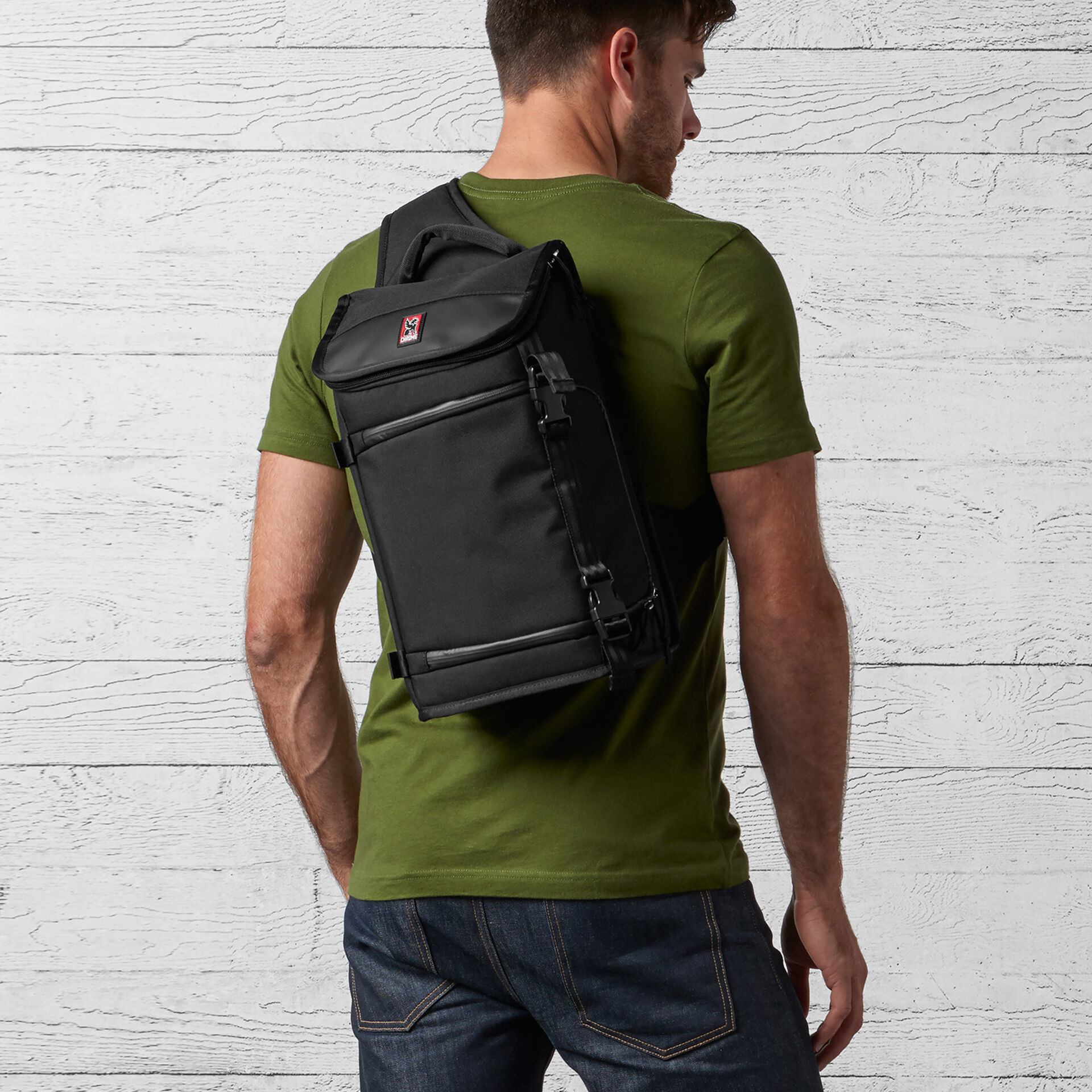 Niko Messenger Bag in Black / Black - wide view.