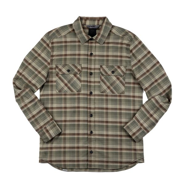 Woven Stretch Workshirt in Olive Leaf Plaid - medium view.