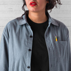 Stretch Chambray Workshirt in Midnight Navy - wide-hi-res view.