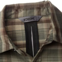 Woven Stretch Workshirt in Olive Leaf Plaid - large view.