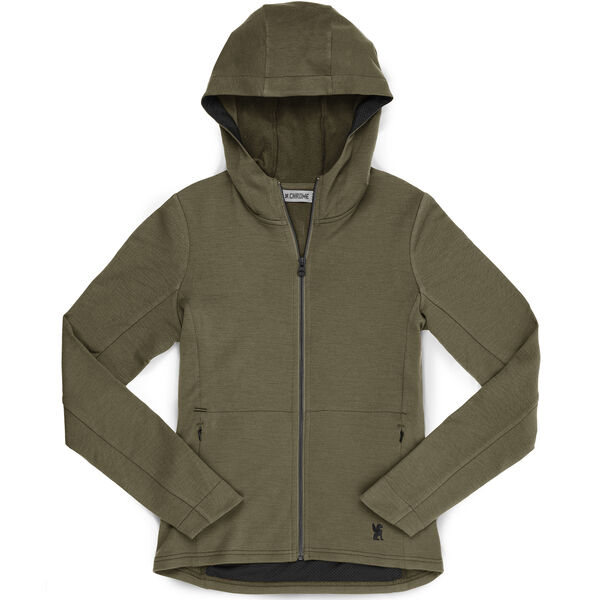 Women's Merino Cobra Hoodie 2.0 in Olive Leaf - hi-res view.