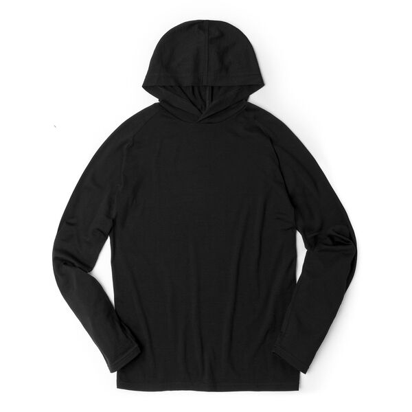 Merino Long Sleeve Hoodie in Black  - medium view.