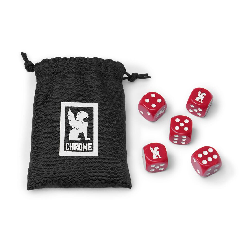 Chrome Dice Set in Red - large view.