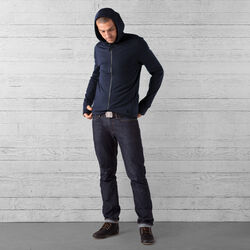 Merino Wool Cobra Hoodie in Mood Indigo - wide-hi-res view.