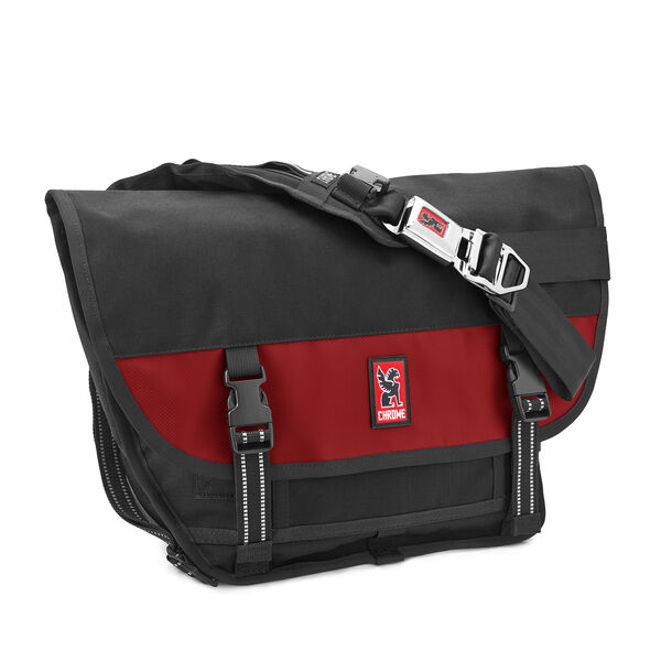 Mini Metro Messenger Bag in Black / Red - medium view.