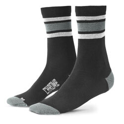 Merino Stripe Crew Socks in Black / Castle Rock - hi-res view.