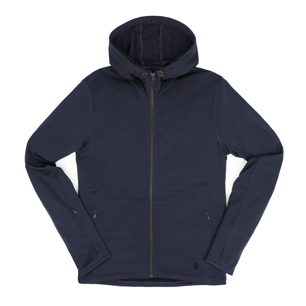 Merino Wool Cobra Hoodie in Mood Indigo - hi-res view.