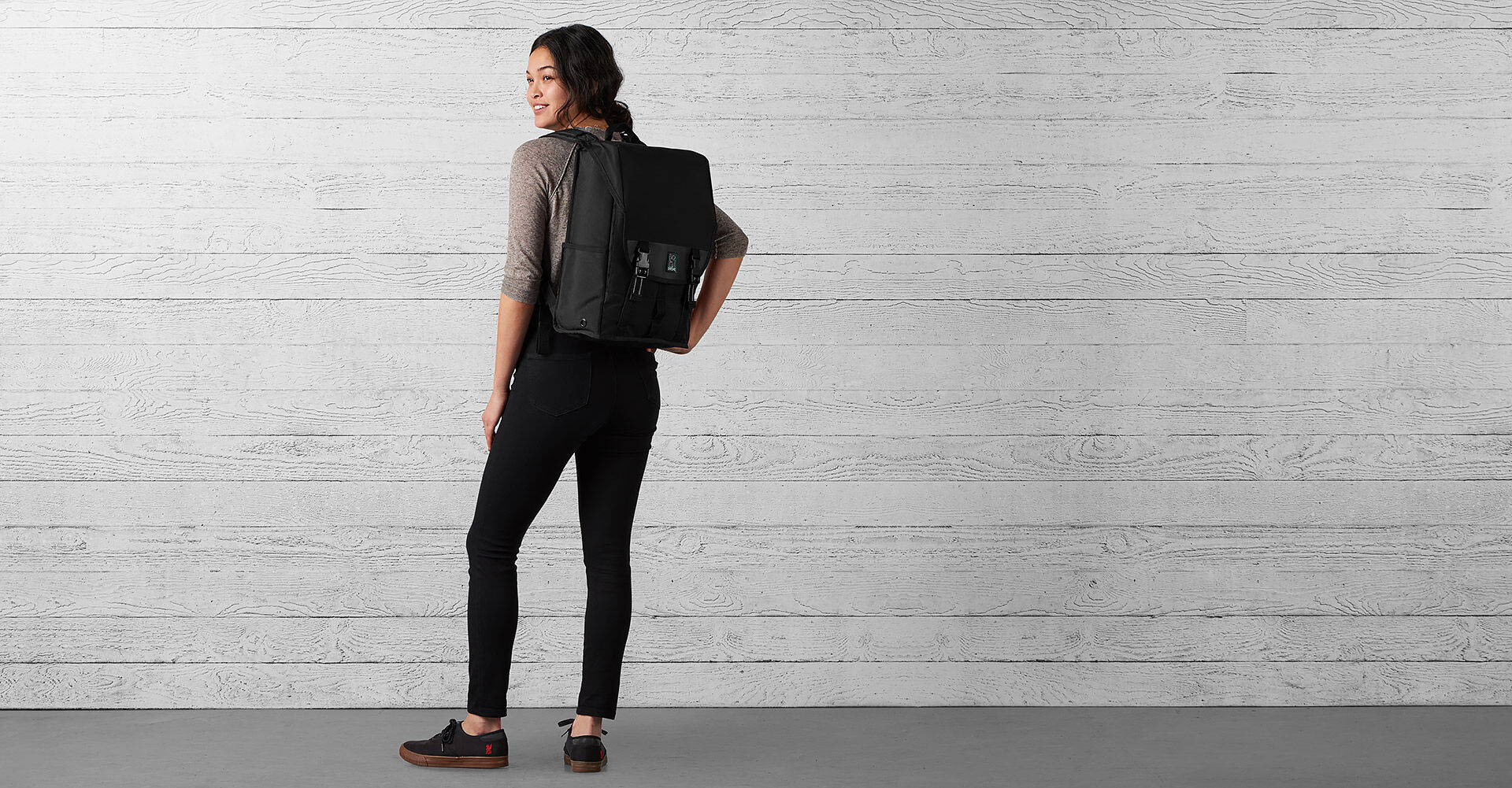 Soma Backpack in All Black - wide view.