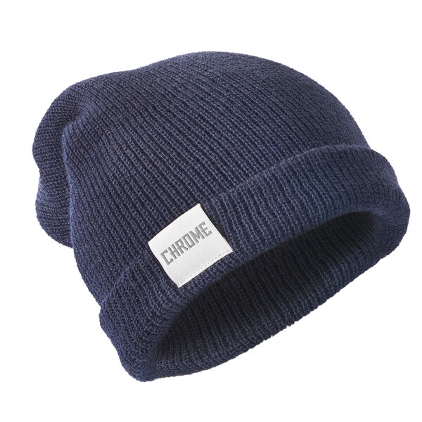 Wool Cuff Beanie in Navy - hi-res view.