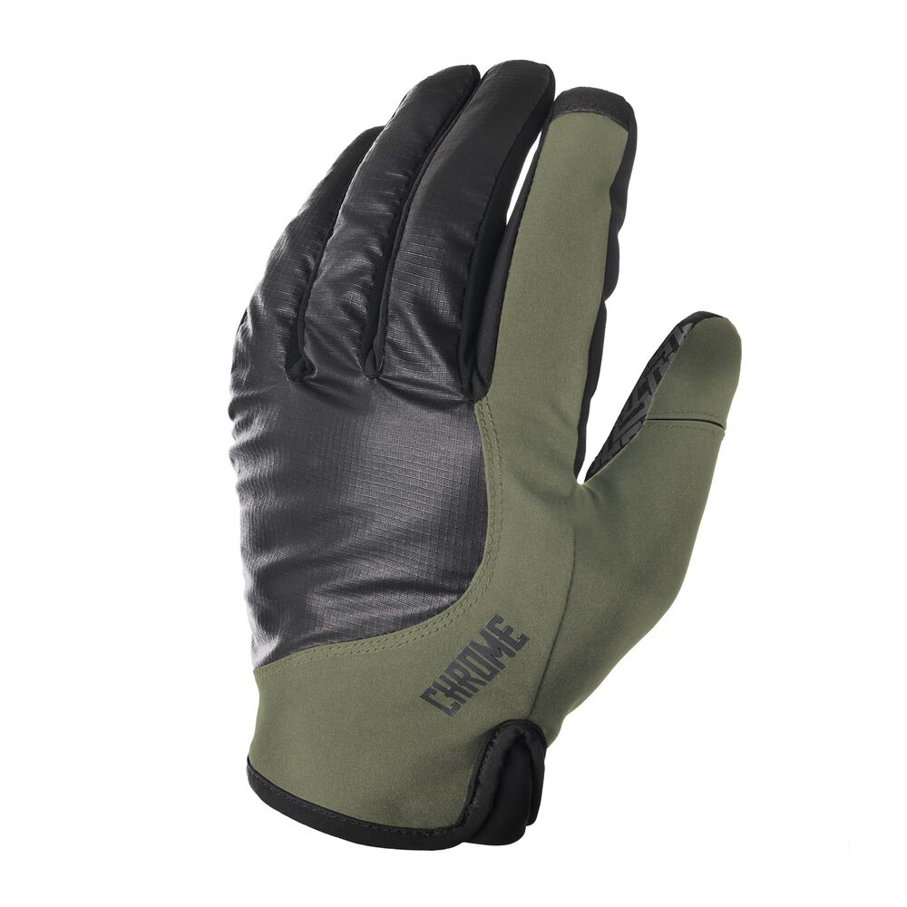 Midweight Cycle Gloves in Olive / Black - hi-res view.