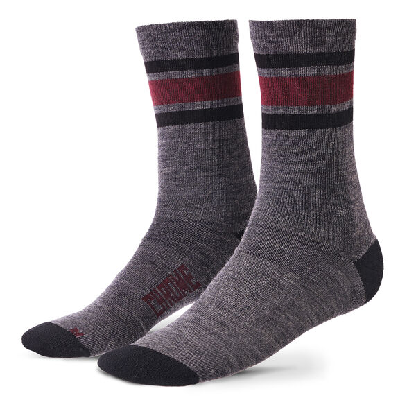 Merino Stripe Crew Socks in Charcoal / Andorra - hi-res view.