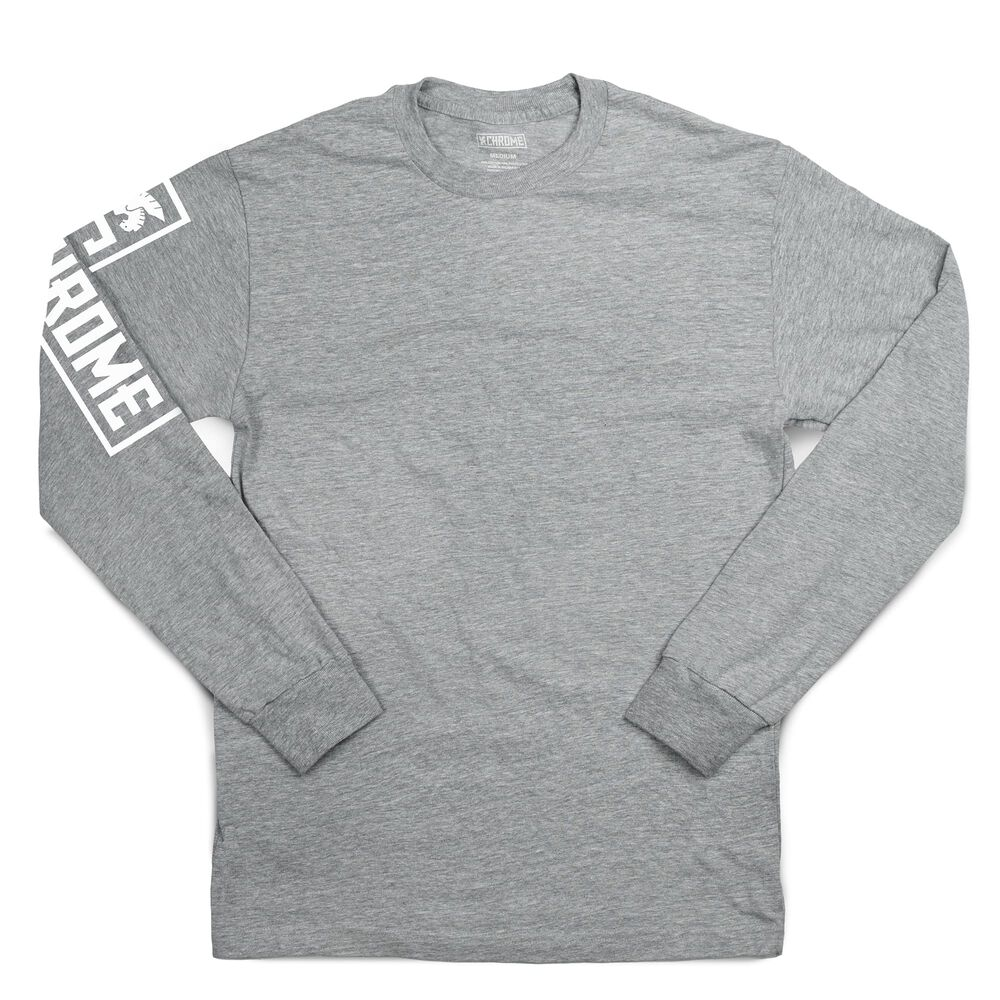 Flying Lion Long Sleeve Tee in Heather Grey - hi-res view.