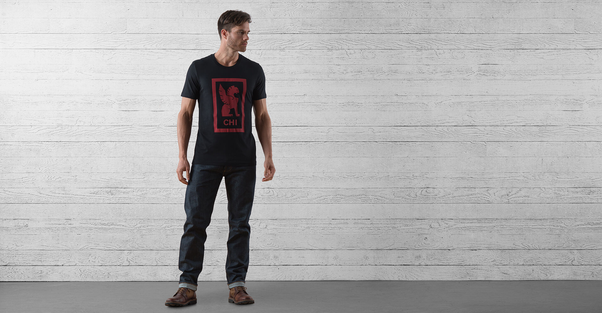 Chicago Hub Tee in Black / Red Graphic - wide view.