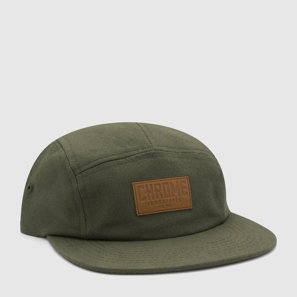 Canvas Five Panel Hat in Olive - large view.