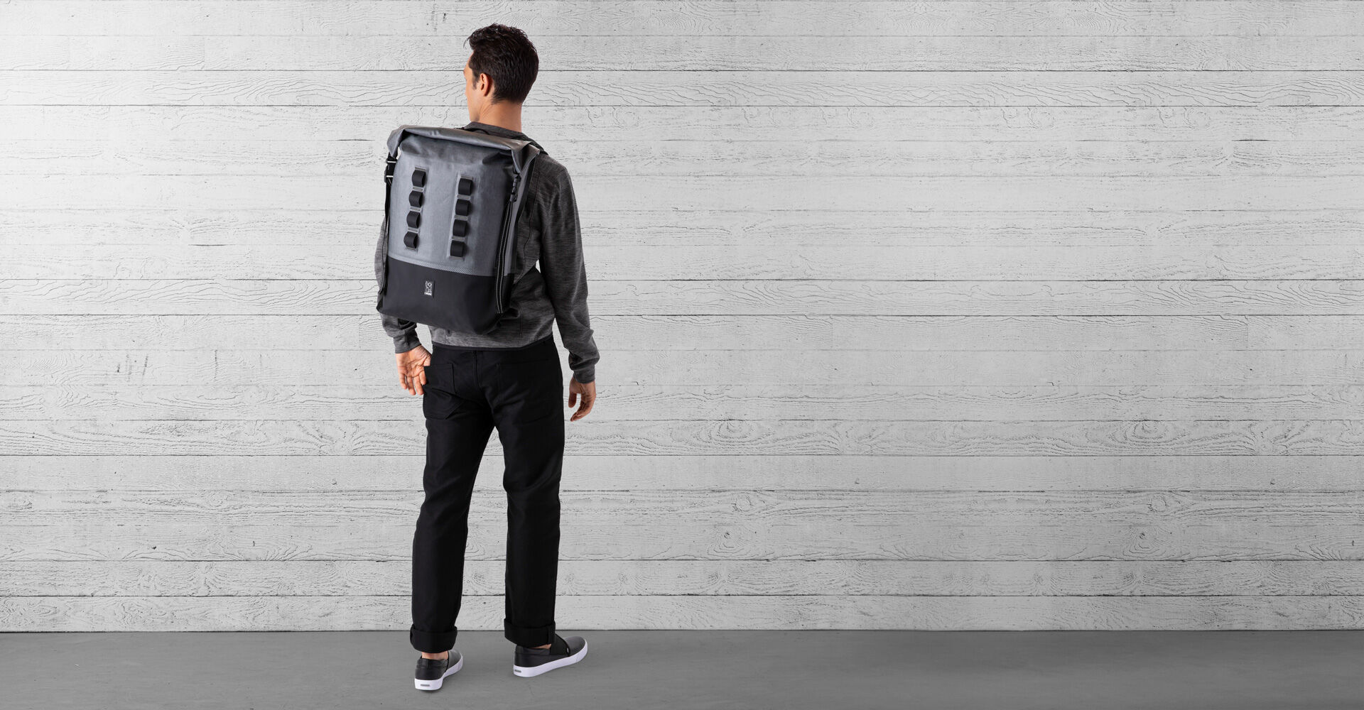 Urban Ex Rolltop 28L Backpack in Grey / Black - wide view.