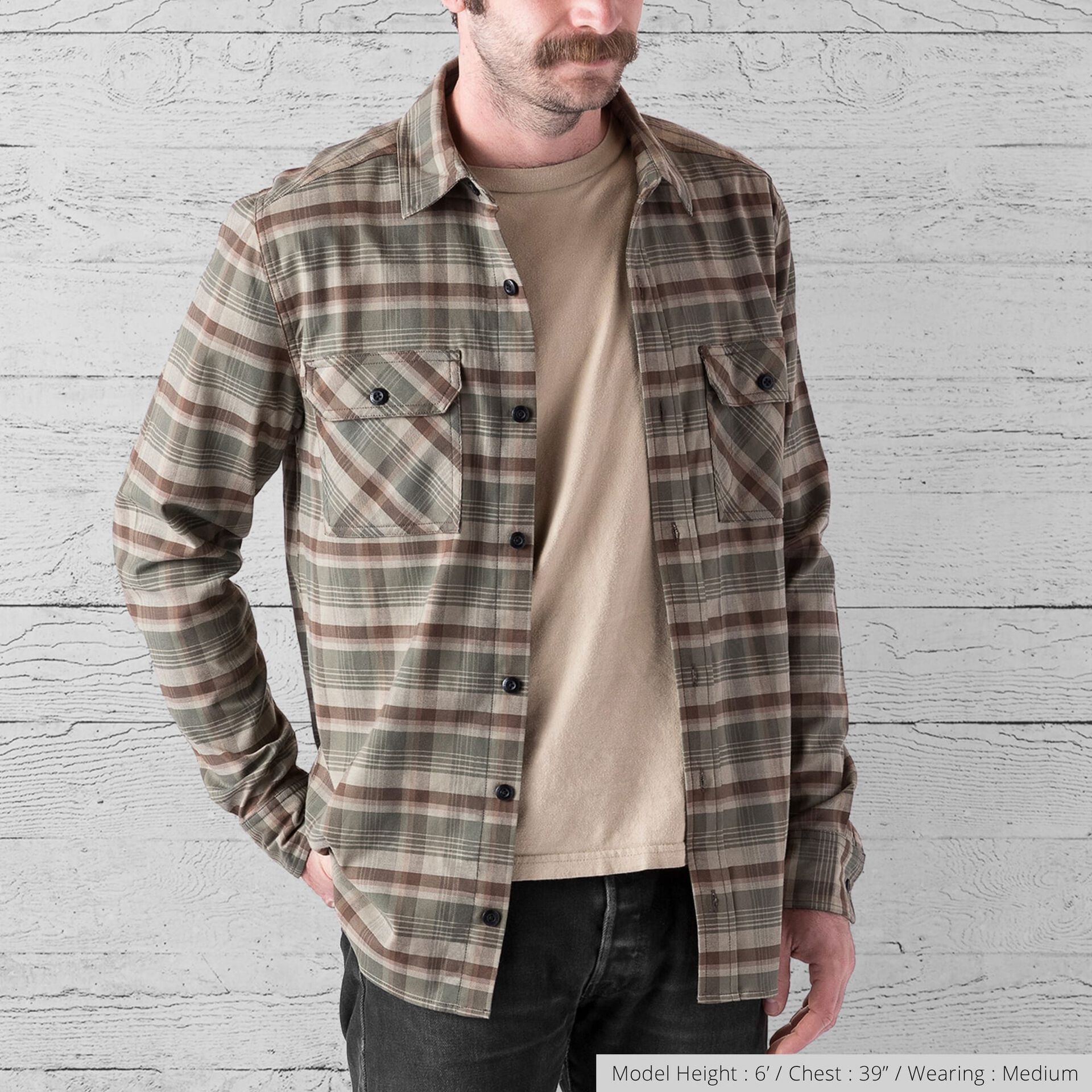 Woven Stretch Workshirt in Olive Leaf Plaid - wide view.