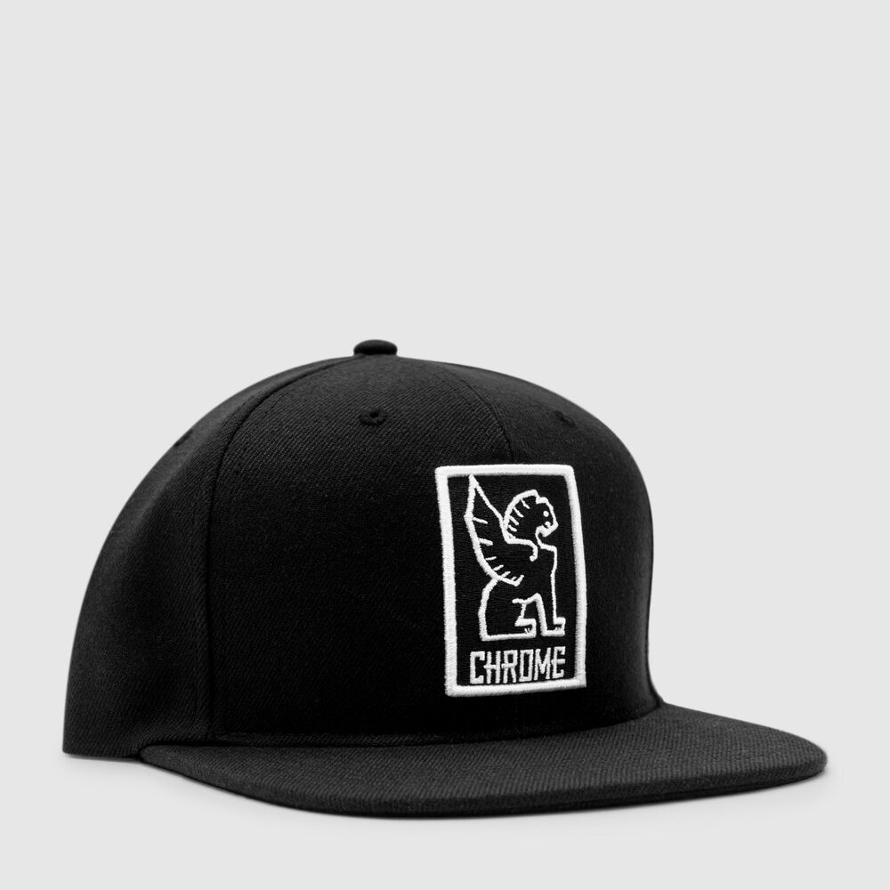 Snapback Cap in Black / White - large view.