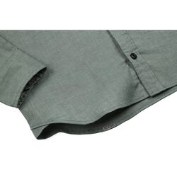 Stretch Chambray Workshirt in Olive Leaf - small view.