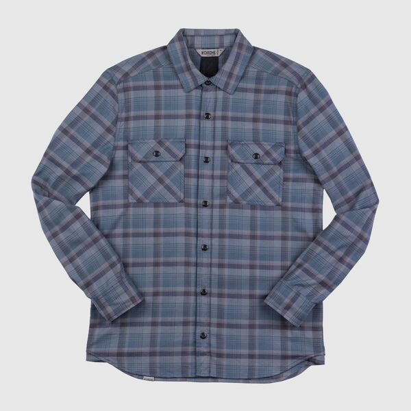 Woven Stretch Workshirt in Midnight Navy Plaid - medium view.
