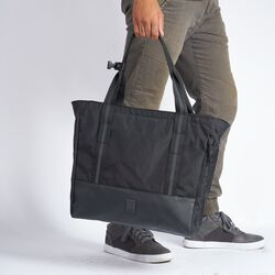 Civvy Messenger Tote in Black - hi-res view.