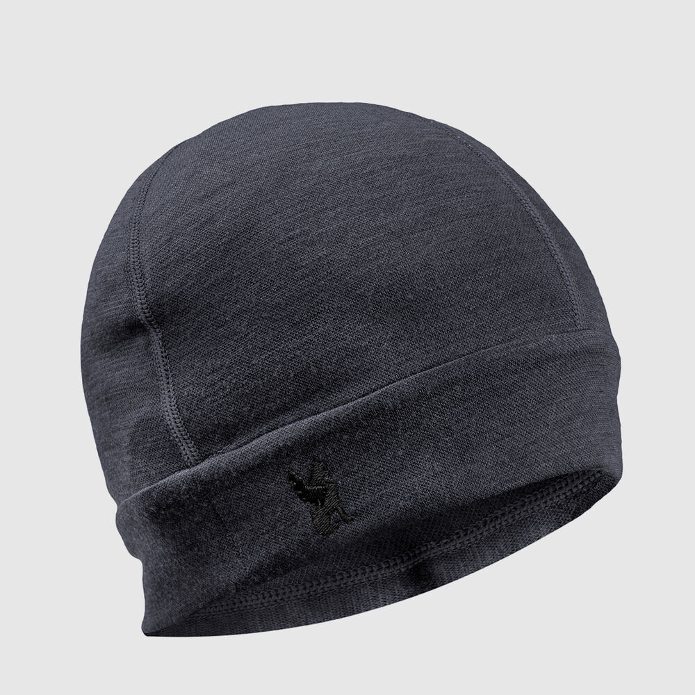 Merino Beanie in Charcoal - large view.