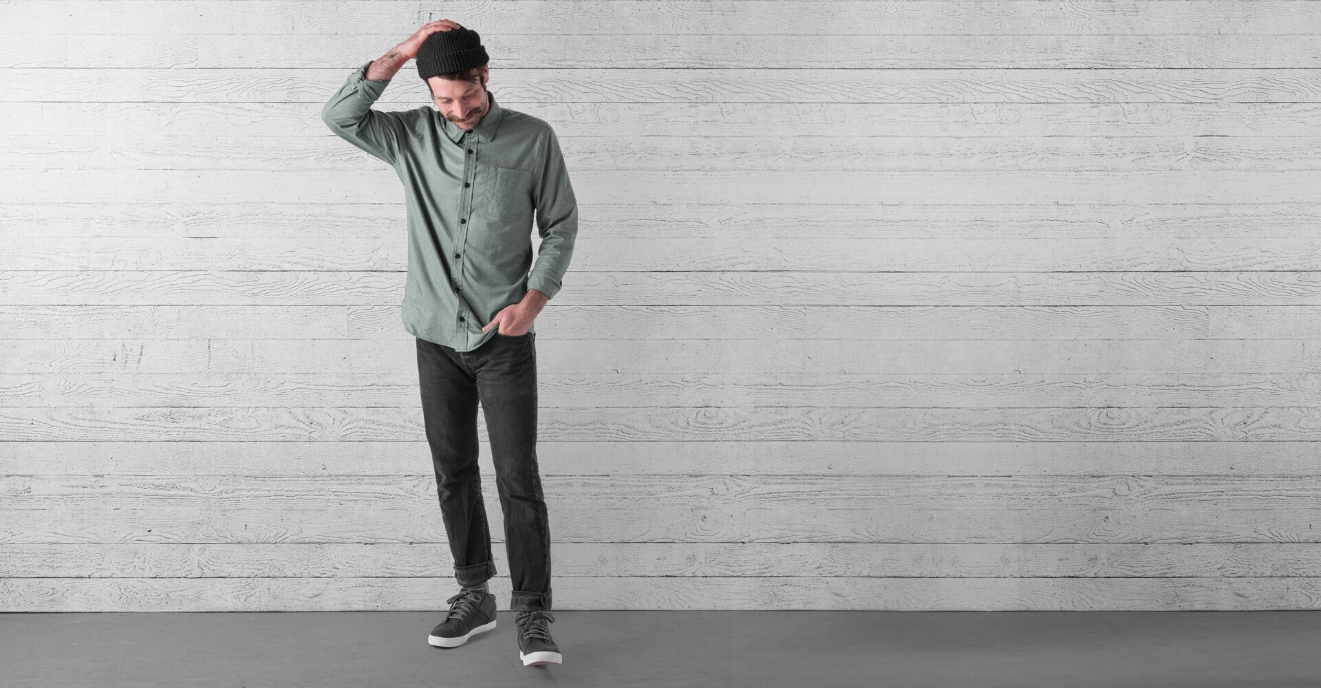Stretch Chambray Workshirt in Olive Leaf - wide view.