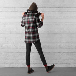 Woven Stretch Workshirt in Black Plaid - wide-hi-res view.