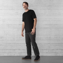 Merino Short Sleeve Tee in Black  - wide-hi-res view.