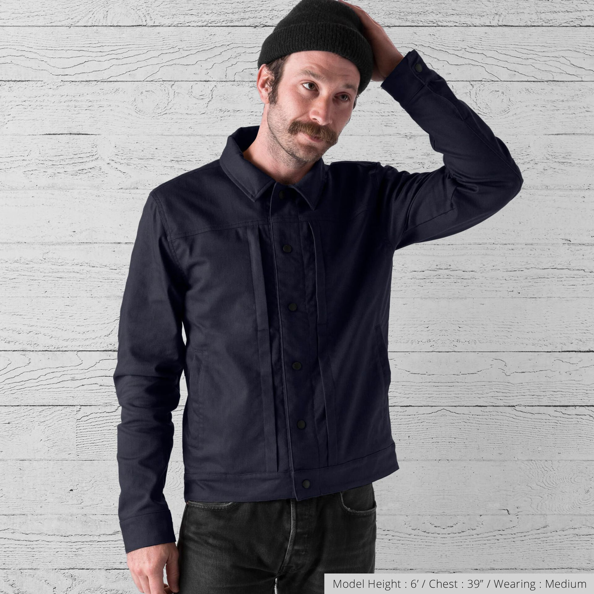 Blake Cycling Trucker Jacket in Midnight - wide view.
