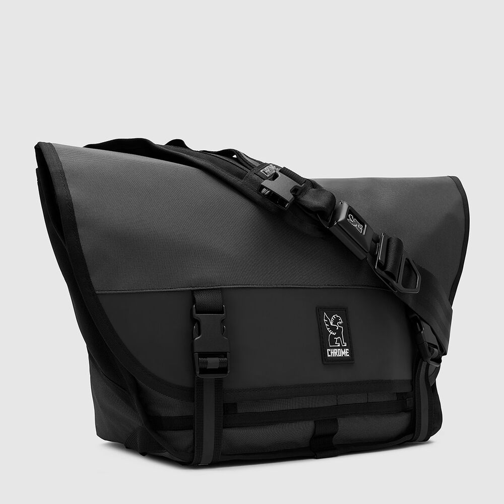 The Welterweight Mini Metro Messenger Bag in Charcoal / Black - large view.