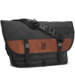 Citizen Messenger Bag in Black / Brown Leather - hi-res view.