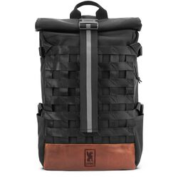 Barrage Cargo Backpack in Black / Brown Leather - hi-res view.