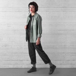 Stretch Chambray Workshirt in Olive Leaf - wide-hi-res view.