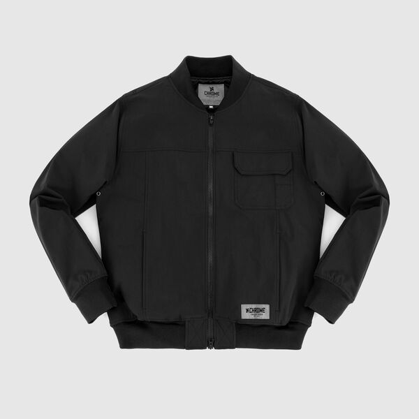 Utility Bomber Jacket in Black - medium view.