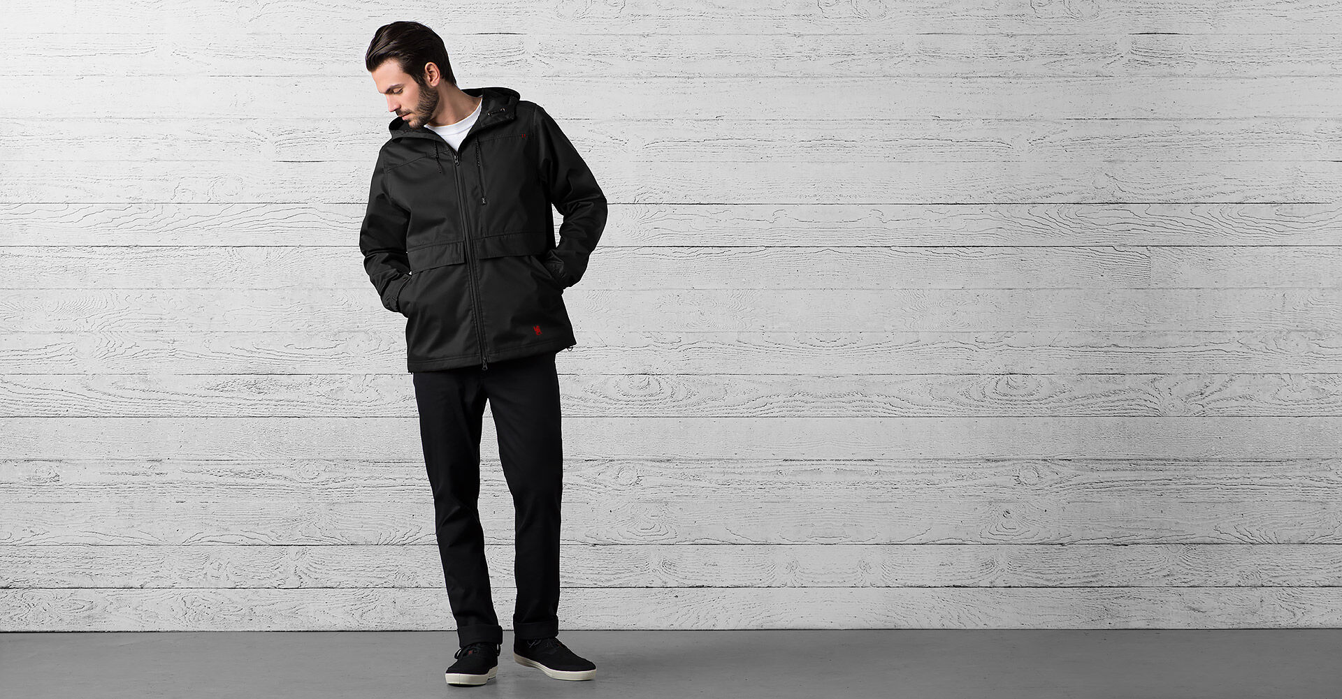 Skyline Windcheater Jacket in Black - wide view.