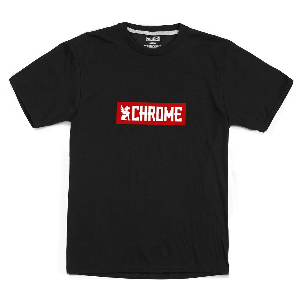 Horizontal Logo Tee in Black / Red Graphic - hi-res view.