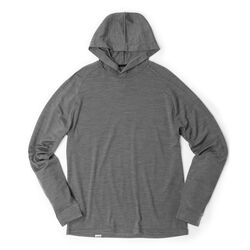 Merino Long Sleeve Hoodie in Charcoal  - hi-res view.