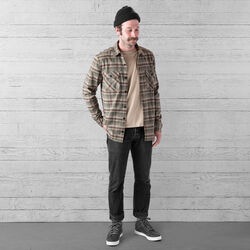 Woven Stretch Workshirt in Olive Leaf Plaid - wide-hi-res view.