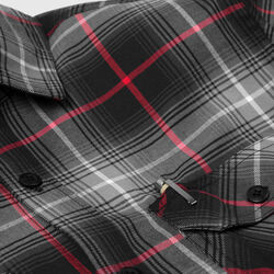 Woven Stretch Workshirt in Black Plaid - small view.