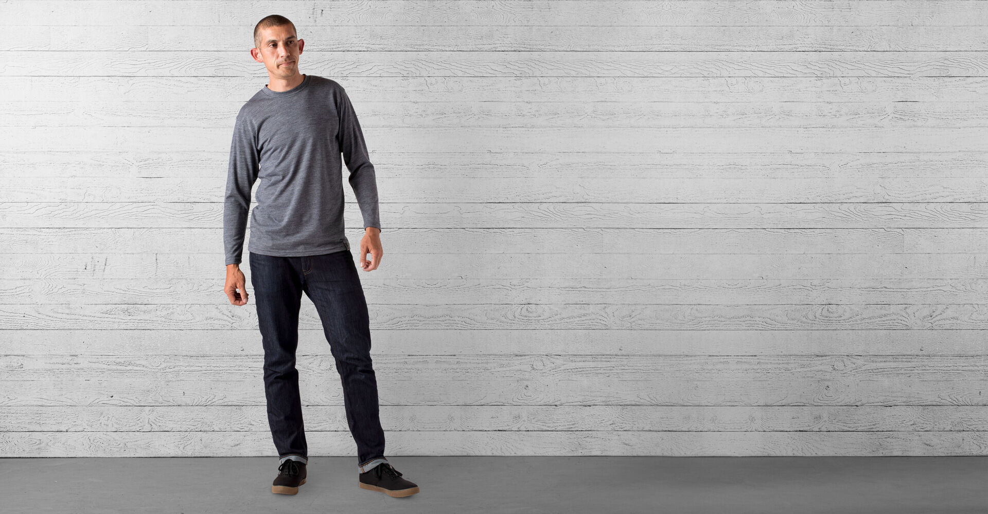 Delancey Merino Long Sleeve Tee in Charcoal - wide view.